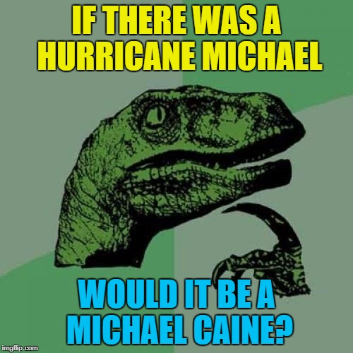 I'm thinking it would :) | IF THERE WAS A HURRICANE MICHAEL WOULD IT BE A MICHAEL CAINE? | image tagged in memes,philosoraptor,michael caine,weather,hurricane | made w/ Imgflip meme maker