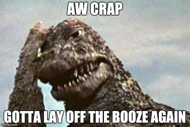 Godzilla Facepalm | AW CRAP GOTTA LAY OFF THE BOOZE AGAIN | image tagged in godzilla facepalm | made w/ Imgflip meme maker