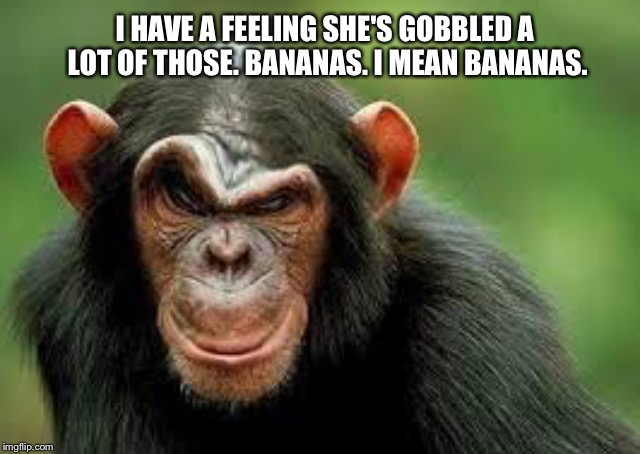 I HAVE A FEELING SHE'S GOBBLED A LOT OF THOSE. BANANAS. I MEAN BANANAS. | made w/ Imgflip meme maker