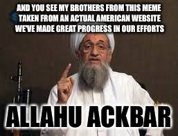 AND YOU SEE MY BROTHERS FROM THIS MEME TAKEN FROM AN ACTUAL AMERICAN WEBSITE WE'VE MADE GREAT PROGRESS IN OUR EFFORTS ALLAHU ACKBAR | made w/ Imgflip meme maker