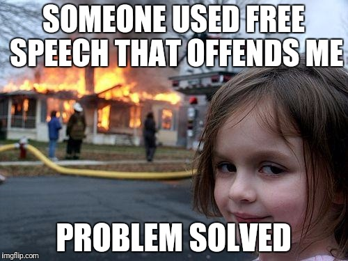 Disaster Girl Meme | SOMEONE USED FREE SPEECH THAT OFFENDS ME PROBLEM SOLVED | image tagged in memes,disaster girl | made w/ Imgflip meme maker