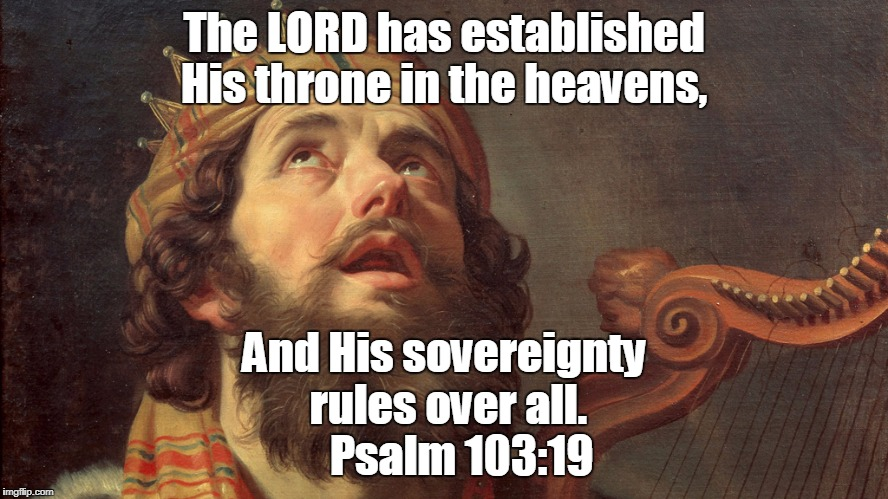 King David Psalms | The LORD has established His throne in the heavens, And His sovereignty rules over all.    Psalm 103:19 | image tagged in king david psalms | made w/ Imgflip meme maker
