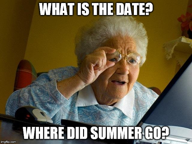 Grandma Finds The Internet Meme | WHAT IS THE DATE? WHERE DID SUMMER GO? | image tagged in memes,grandma finds the internet | made w/ Imgflip meme maker