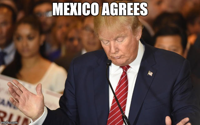 Trump Drops Ball | MEXICO AGREES | image tagged in trump drops ball | made w/ Imgflip meme maker