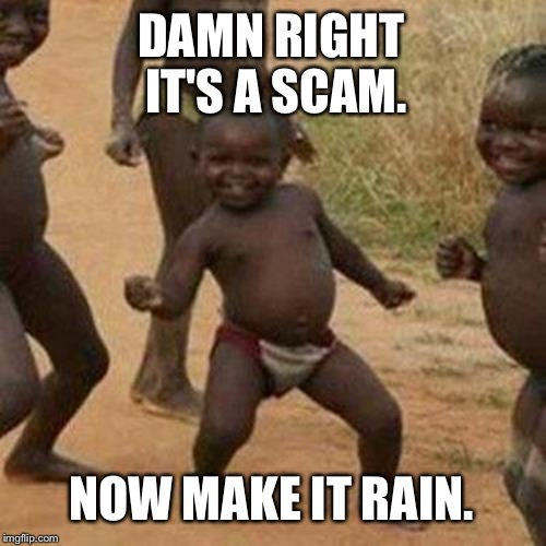 Make it rain | DAMN RIGHT IT'S A SCAM. NOW MAKE IT RAIN. | image tagged in memes,third world success kid,internet scam,make it rain,african kids dancing,money money | made w/ Imgflip meme maker