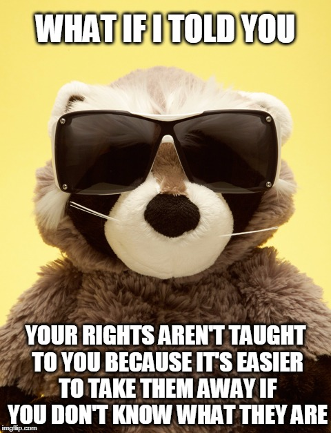 Thank you public education! | WHAT IF I TOLD YOU YOUR RIGHTS AREN'T TAUGHT TO YOU BECAUSE IT'S EASIER TO TAKE THEM AWAY IF YOU DON'T KNOW WHAT THEY ARE | image tagged in what if i told you,politics,rights | made w/ Imgflip meme maker