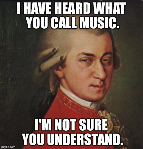 Mozart Not Sure | I HAVE HEARD WHAT YOU CALL MUSIC. I'M NOT SURE YOU UNDERSTAND. | image tagged in memes,mozart not sure | made w/ Imgflip meme maker