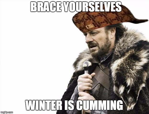 Brace Yourselves X is Coming Meme | BRACE YOURSELVES WINTER IS CUMMING | image tagged in memes,brace yourselves x is coming,scumbag | made w/ Imgflip meme maker