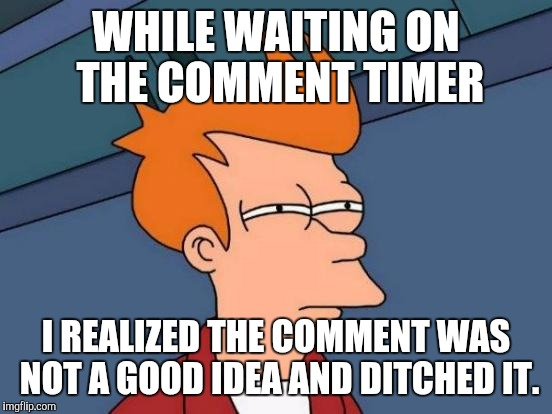 So at least it has that going for it! :D | WHILE WAITING ON THE COMMENT TIMER I REALIZED THE COMMENT WAS NOT A GOOD IDEA AND DITCHED IT. | image tagged in funny,futurama fry,imgflip,humor,memes,humour | made w/ Imgflip meme maker