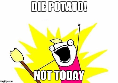 X All The Y Meme | DIE POTATO! NOT TODAY | image tagged in memes,x all the y | made w/ Imgflip meme maker