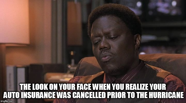 When you realize your auto insurance policy is cancelled | THE LOOK ON YOUR FACE WHEN YOU REALIZE YOUR AUTO INSURANCE WAS CANCELLED PRIOR TO THE HURRICANE | image tagged in look on your face,memes,funny,automotive,insurance,car insurance | made w/ Imgflip meme maker