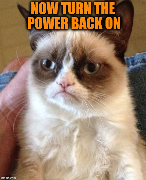 Grumpy Cat Meme | NOW TURN THE POWER BACK ON | image tagged in memes,grumpy cat | made w/ Imgflip meme maker