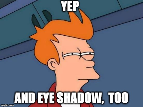 Futurama Fry Meme | YEP AND EYE SHADOW,  TOO | image tagged in memes,futurama fry | made w/ Imgflip meme maker