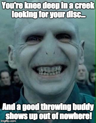 Voldemort Grin | You're knee deep in a creek looking for your disc... And a good throwing buddy shows up out of nowhere! | image tagged in voldemort grin | made w/ Imgflip meme maker
