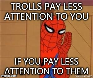 Hint Hint  | TROLLS PAY LESS ATTENTION TO YOU IF YOU PAY LESS ATTENTION TO THEM | image tagged in psst spiderman,trolls,imgflip humor,good advice | made w/ Imgflip meme maker
