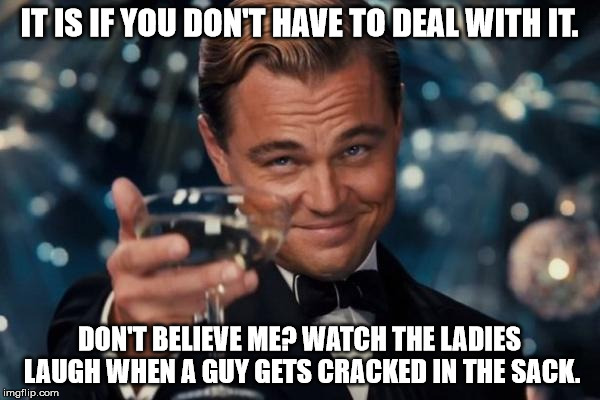 Leonardo Dicaprio Cheers Meme | IT IS IF YOU DON'T HAVE TO DEAL WITH IT. DON'T BELIEVE ME? WATCH THE LADIES LAUGH WHEN A GUY GETS CRACKED IN THE SACK. | image tagged in memes,leonardo dicaprio cheers | made w/ Imgflip meme maker