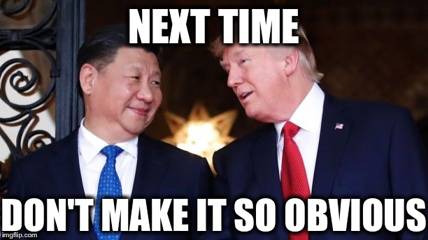 Trump And Jinping | NEXT TIME DON'T MAKE IT SO OBVIOUS | image tagged in trump and jinping | made w/ Imgflip meme maker