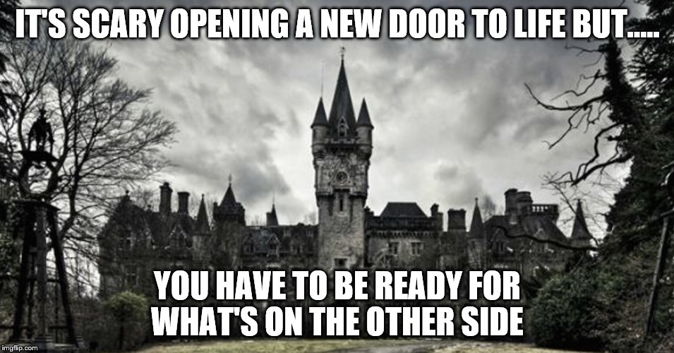 Idk | IT'S SCARY OPENING A NEW DOOR TO LIFE BUT..... YOU HAVE TO BE READY FOR WHAT'S ON THE OTHER SIDE | image tagged in life | made w/ Imgflip meme maker