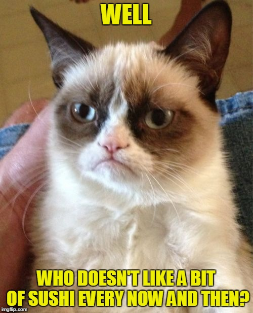 Grumpy Cat Meme | WELL WHO DOESN'T LIKE A BIT OF SUSHI EVERY NOW AND THEN? | image tagged in memes,grumpy cat | made w/ Imgflip meme maker
