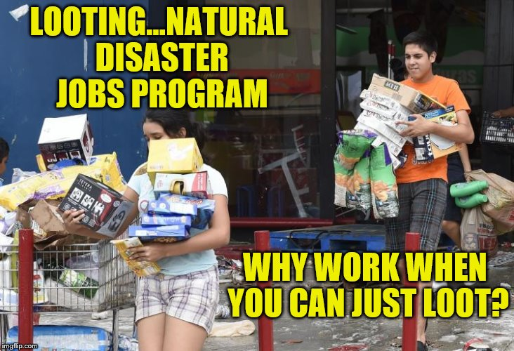 Natural Disaster Looting Hurricane Harvey |  LOOTING...NATURAL DISASTER JOBS PROGRAM; WHY WORK WHEN YOU CAN JUST LOOT? | image tagged in looters,looting,memes,hurricane harvey,natural disaster,thieves | made w/ Imgflip meme maker