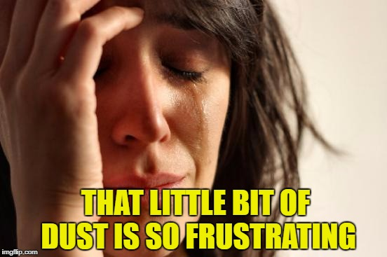 First World Problems Meme | THAT LITTLE BIT OF DUST IS SO FRUSTRATING | image tagged in memes,first world problems | made w/ Imgflip meme maker