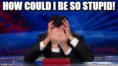 stephen colbert face palms | HOW COULD I BE SO STUPID! | image tagged in stephen colbert face palms | made w/ Imgflip meme maker