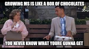 forrest gump box of chocolates | GROWING MS IS LIKE A BOX OF CHOCOLATES YOU NEVER KNOW WHAT YOURE GUNNA GET | image tagged in forrest gump box of chocolates | made w/ Imgflip meme maker