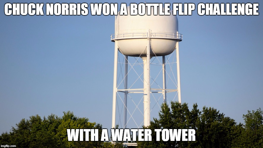 Chuck Norris water tower | CHUCK NORRIS WON A BOTTLE FLIP CHALLENGE WITH A WATER TOWER | image tagged in water tower,chuck norris,memes | made w/ Imgflip meme maker