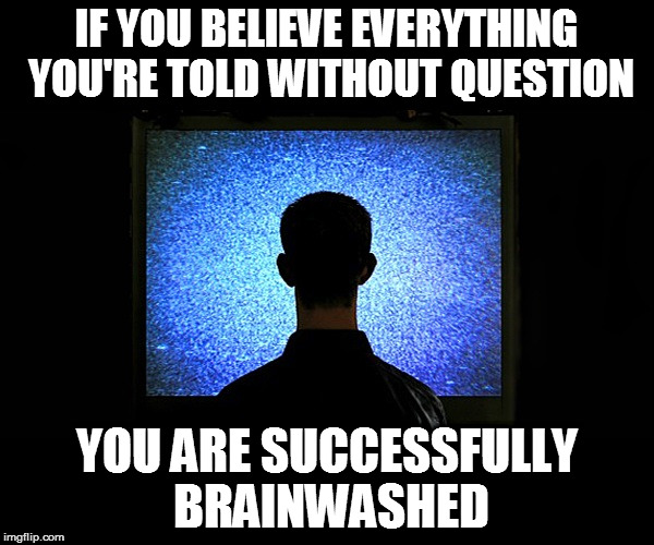 IF YOU BELIEVE EVERYTHING YOU'RE TOLD WITHOUT QUESTION YOU ARE SUCCESSFULLY BRAINWASHED | image tagged in brainwashed sheeple | made w/ Imgflip meme maker