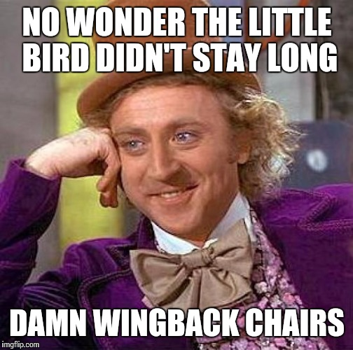 Creepy Condescending Wonka Meme | NO WONDER THE LITTLE BIRD DIDN'T STAY LONG DAMN WINGBACK CHAIRS | image tagged in memes,creepy condescending wonka | made w/ Imgflip meme maker