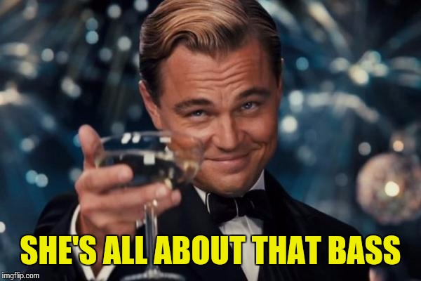 Leonardo Dicaprio Cheers Meme | SHE'S ALL ABOUT THAT BASS | image tagged in memes,leonardo dicaprio cheers | made w/ Imgflip meme maker