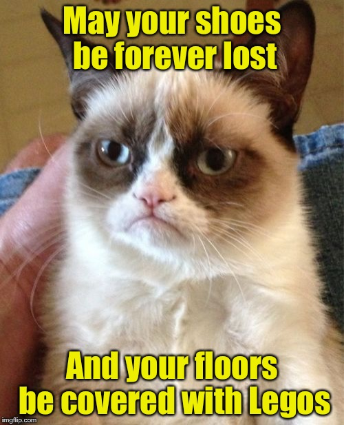 A Grumpy Curse | May your shoes be forever lost And your floors be covered with Legos | image tagged in memes,grumpy cat,legos | made w/ Imgflip meme maker
