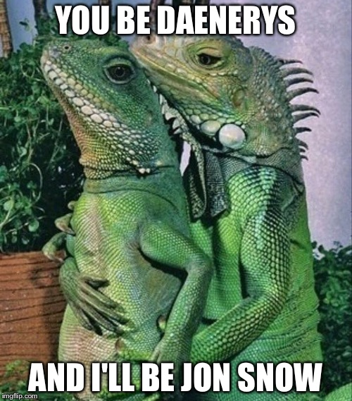 When her dragons get frisky and role play | YOU BE DAENERYS AND I'LL BE JON SNOW | image tagged in iguanas,game of thrones,dragons,daenerys targaryen,jon snow,memes | made w/ Imgflip meme maker
