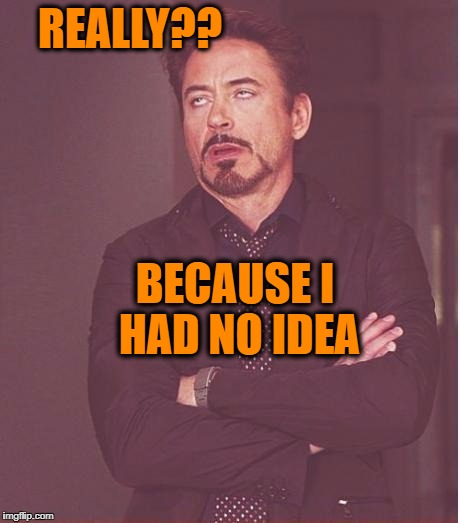 Face You Make Robert Downey Jr Meme | REALLY?? BECAUSE I HAD NO IDEA | image tagged in memes,face you make robert downey jr | made w/ Imgflip meme maker