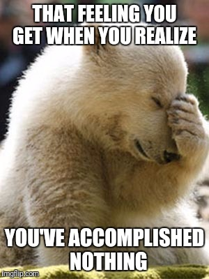 Facepalm Bear Meme | THAT FEELING YOU GET WHEN YOU REALIZE YOU'VE ACCOMPLISHED  NOTHING | image tagged in memes,facepalm bear | made w/ Imgflip meme maker