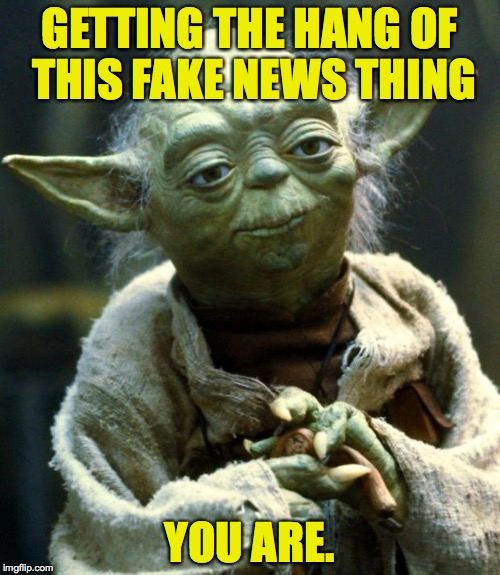 Star Wars Yoda Meme | GETTING THE HANG OF THIS FAKE NEWS THING YOU ARE. | image tagged in memes,star wars yoda | made w/ Imgflip meme maker