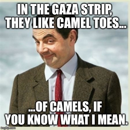 Hump Day Camel Toe | IN THE GAZA STRIP, THEY LIKE CAMEL TOES... ...OF CAMELS, IF YOU KNOW WHAT I MEAN. | image tagged in mr bean,gaza strip,muslim camel,camel toe,sex jokes,middle east | made w/ Imgflip meme maker