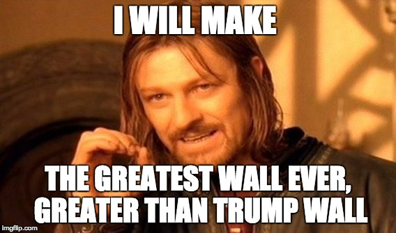 One Does Not Simply Meme | I WILL MAKE THE GREATEST WALL EVER, GREATER THAN TRUMP WALL | image tagged in memes,one does not simply | made w/ Imgflip meme maker