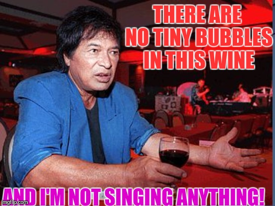 THERE ARE NO TINY BUBBLES IN THIS WINE AND I'M NOT SINGING ANYTHING! | made w/ Imgflip meme maker