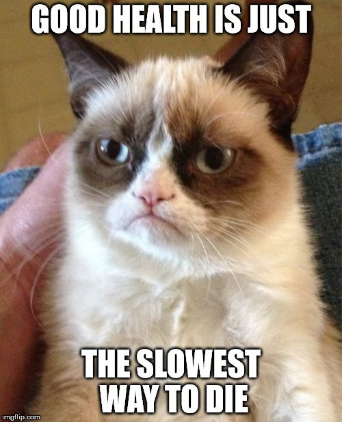 Always good to be optimistic about your health | GOOD HEALTH IS JUST THE SLOWEST WAY TO DIE | image tagged in memes,grumpy cat,good health,die | made w/ Imgflip meme maker