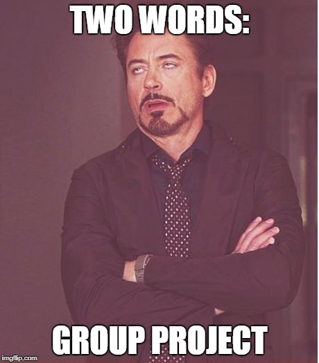 Face You Make Robert Downey Jr Meme | TWO WORDS: GROUP PROJECT | image tagged in memes,face you make robert downey jr | made w/ Imgflip meme maker