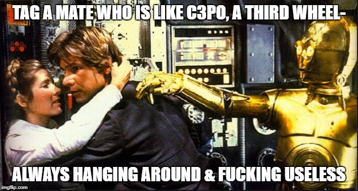 TAG A MATE WHO IS LIKE C3PO, A THIRD WHEEL- ALWAYS HANGING AROUND & F**KING USELESS | image tagged in c3po | made w/ Imgflip meme maker