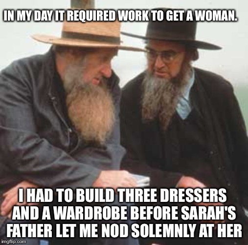 IN MY DAY IT REQUIRED WORK TO GET A WOMAN. I HAD TO BUILD THREE DRESSERS AND A WARDROBE BEFORE SARAH'S FATHER LET ME NOD SOLEMNLY AT HER | made w/ Imgflip meme maker