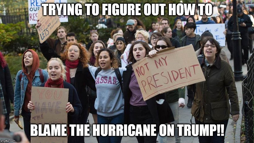harvey | TRYING TO FIGURE OUT HOW TO BLAME THE HURRICANE ON TRUMP!! | image tagged in hurricane harvey | made w/ Imgflip meme maker