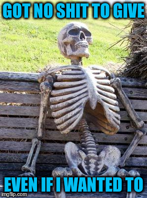 Waiting Skeleton Meme | GOT NO SHIT TO GIVE EVEN IF I WANTED TO | image tagged in memes,waiting skeleton | made w/ Imgflip meme maker