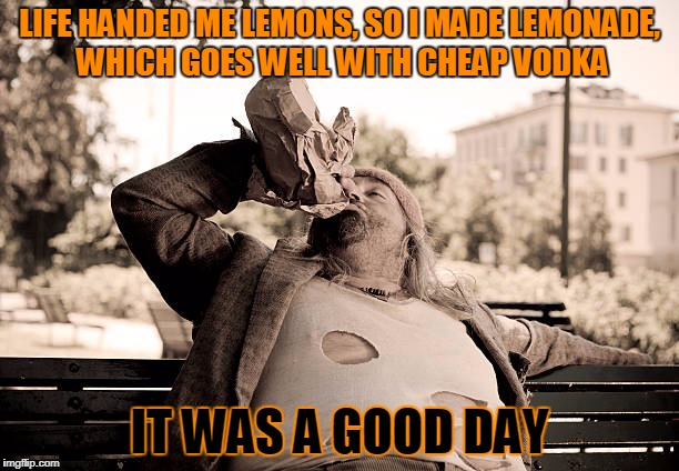 any day bad luck gives you a mixer is a good day | LIFE HANDED ME LEMONS, SO I MADE LEMONADE, WHICH GOES WELL WITH CHEAP VODKA IT WAS A GOOD DAY | image tagged in it was a good day bum,memes,it was a good day,bum,when life gives you lemons | made w/ Imgflip meme maker