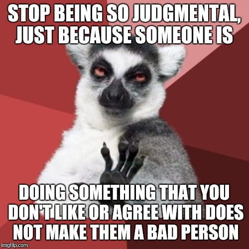 Chill Out Lemur | STOP BEING SO JUDGMENTAL, JUST BECAUSE SOMEONE IS DOING SOMETHING THAT YOU DON'T LIKE OR AGREE WITH DOES NOT MAKE THEM A BAD PERSON | image tagged in memes,chill out lemur | made w/ Imgflip meme maker