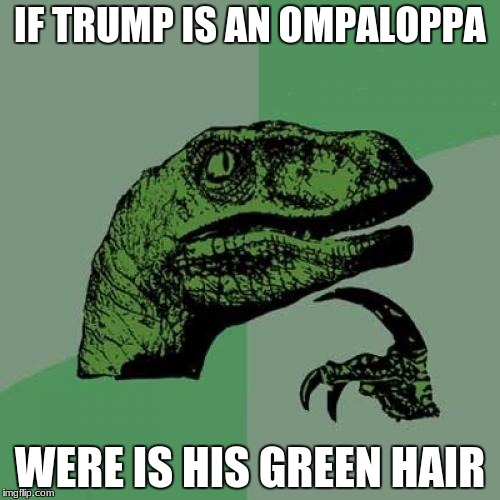 Philosoraptor Meme | IF TRUMP IS AN OMPALOPPA WERE IS HIS GREEN HAIR | image tagged in memes,philosoraptor | made w/ Imgflip meme maker