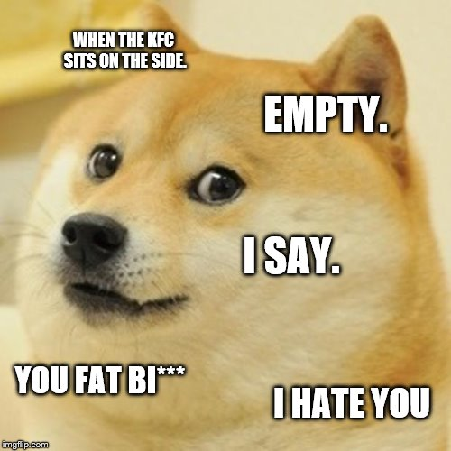 Doge Meme | WHEN THE KFC SITS ON THE SIDE. EMPTY. I SAY. YOU FAT BI*** I HATE YOU | image tagged in memes,doge | made w/ Imgflip meme maker