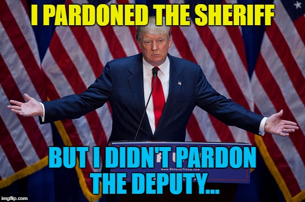 Perhaps because Sheriff Joe Arpaio's deputy wasn't on trial... | I PARDONED THE SHERIFF BUT I DIDN'T PARDON THE DEPUTY... | image tagged in donald trump,memes,joe arpaio,music,i shot the sheriff,presidential pardon | made w/ Imgflip meme maker